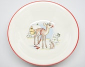 1940's Rudolph the Red Nosed Reindeer Bowl, Antique RLM Christmas Bowl, Vintage Childs China