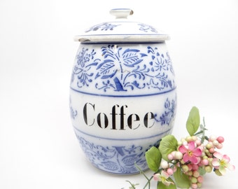 1920's German Blue & White Coffee Canister Jar, Antique Flow Blue