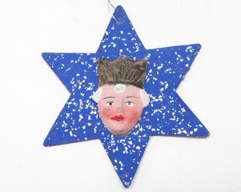 1930's German Star Christmas Ornament Queen with Crown, Antique, Hand Painted