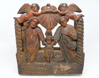 Antique Italian Hand Carved Relief Nativity with Angels, Holy Family, Religious Folk Art