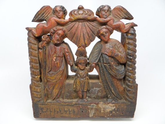 Antique italian hand carved relief nativity with angels holy