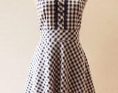 SALE - Navy Summer Dress Sundress Straps Gingham Sweet Dress Vintage Inspired Vintage Lady Dress, Swing Skirt Dress, XS-XL,Custom
