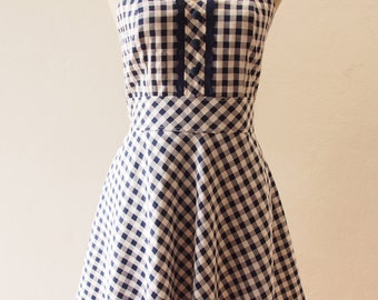 Dress in Navy, Navy Summer Dress, Straps Gingham Sweet Dress, Vintage Inspired, Vintage Lady Dress, Swing Skirt Dress, XS-XL,Custom