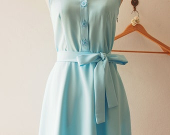 DOWNTOWN - Baby Blue Shirt Dress, Summer Dress, Blue Bridesmaid Dress, Midi Dress, 1950 Inspired Dress, Vintage Inspired Dress, XS-XL,Custom