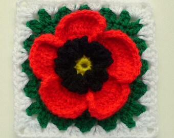 Instant Download Crochet PDF pattern - Poppy in granny square