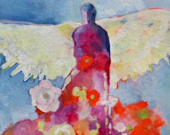 "Abstract Figure Painting on Canvas, Colorful Angel, Spiritual Art ""Gardening Angel"" 18x24"""