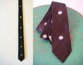 Vintage 60s Brown Black Sharkskin Mod Skinny Tie Dot Pattern Vintage Wedding