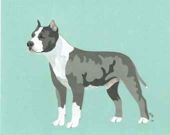 American Staffordshire Terrier handmade original cut paper collage dog art natural ears available