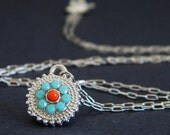 Tiny Silver Turquoise Swarovski Coral Disc Charm Necklace