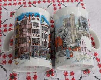 Set  of two DUNOON Mugs  made in Scotland  Old Time Village Scenes  with lots of DUCKS
