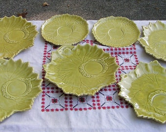 Set of Seven STEUBENVILLE WOODFIELD Luncheon Plates - Leaf Pattern