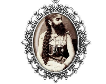 Bearded Lady Circus Freaks and Geeks Gothic Handmade Horror Jewelry Victorian Cameo Bronze Silver Necklace Jewellery