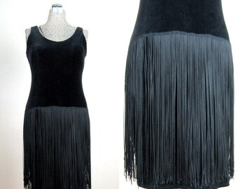 FLASH SALE // Vintage 1960s Flapper Style Dress 60s Black Stretch Velvet and Fringe Dress from I. Magnin Size 6 M