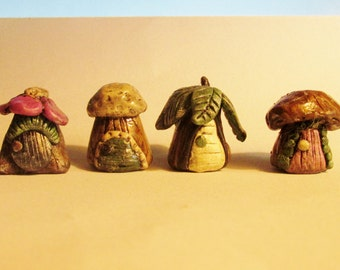 Adorable mini Fairy houses polymer clay set of 4 elf village