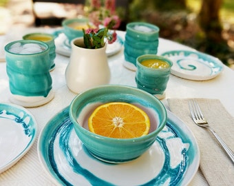 Ceramic Dinnerware Set Service for 4, 5 Piece, Dinnerware Set, Water's Edge Collection, Made When Ordered