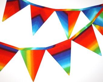 Rainbow Fabric Bunting, Banner, rainbow fabric garland pennant flags, decorative party bunting lgbt