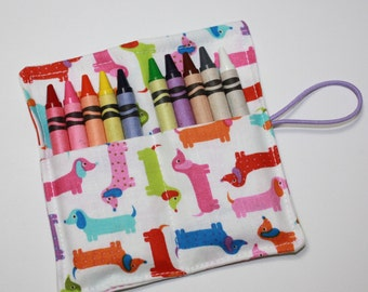 Crayon Rolls Party Favors, Multi-color Tiny Dachshunds, Crayon Holder holds 10 Crayons, Birthday Party Favors