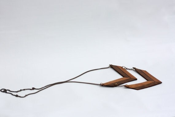 Wood and Leather Chevron Neckalce