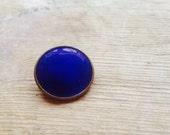 Blue enamel pin back brooch -vintage minimalist geometric circle brooch