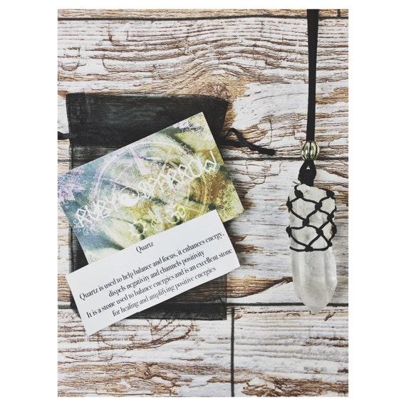 QUARTZ NECKLACE - Healing Crystal Necklace - Chakra - Rough Crystal - Macrame Necklace- Yoga - Boho - Raw Crystal - Handmade