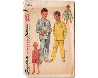 Vintage 1950s Boys Pajamas Pattern, Simplicity Sewing Pattern 1434, Long Sleeve Pajamas, Short Sleeve Pajamas, Button Up Pajamas, Chest 23