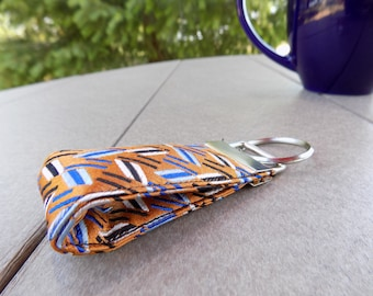 Orange Upcycled Silk Tie Mini Key Fob. Gifts for Him Under 5 Stocking Stuffer Handmade Keychain Teen Teacher Coworker Christmas Gift Idea