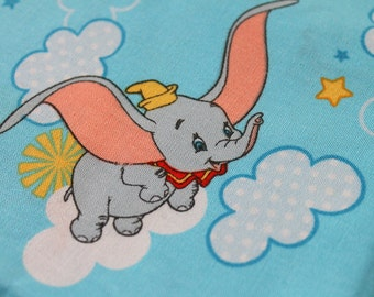 Light Blue Disney Dumbo Elephant Kawaii Fabric, 1 yard