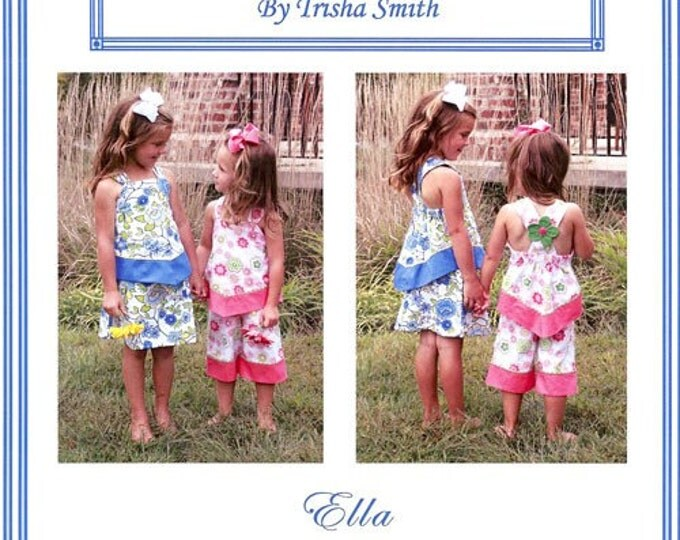 Ella Pattern / Skirt & Long Top Pattern / Ruffled Capri and Top Pattern /Criss Cross Straps / from Trisha's Treasures.