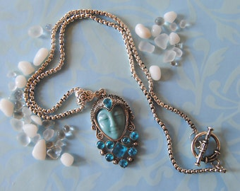 Blue Moon Goddess Face necklace with Emerald Blue Sapphire stones. Gift for her
