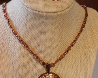 Vintage Genuine Copper Necklace and Clip Earrings Set with Tag