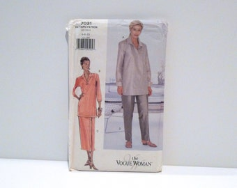Tunic Skirt Pants Vogue 7031 Never Used 1990s Easy Sewing Pattern FF uncut Loose Pullover Top Straight Legged Pants 6 8 10 or 12 14 16