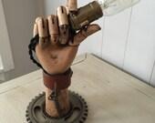 Reserved for Bernadette Steampunk OOAK handmade Edison hand desk lamp assemblage