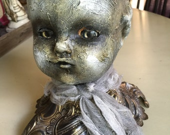 Creepy hand painted halloween art doll oddities doll art
