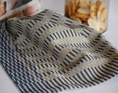 Handwoven Tea Towel- Midnight Stripes Stone