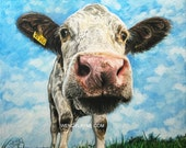 "Sophie the Cow ~17x15"" Limited Edition #004 of 500 - Giclee print Reproduction of Pastel & Colored Pencil Art by Wendy Layne"