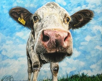 "Sophie the Cow ~17x15"" Limited Edition #006 of 500 - Giclee print Reproduction of Pastel & Colored Pencil Art by Wendy Layne"