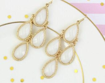 Ivory Stone Chandelier  Earrings, Gold Framed Ivory Earrings, Bridal Earrings, Bridesmaid Earrings,Bridesmaid Gift.