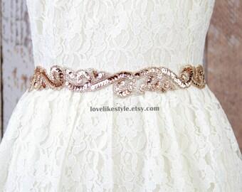 Blush, Vintage Peach Color Sequins Lace Sash Belt, Bridal Blush Sash, Bridesmaid Peach Sash, Flower Gril Sash, Blush Lace Headband
