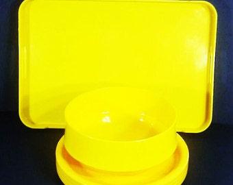 Mid Century 60s Yellow Ingrid Chicago Melamine Dinnerware Set, Tray, Salad Bowl, Plates