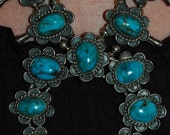 SOLD To S  Stunning Old Vintage Navajo Stormy Mountain Turquoise Squash Blossom Sterling Necklace 178 Grams