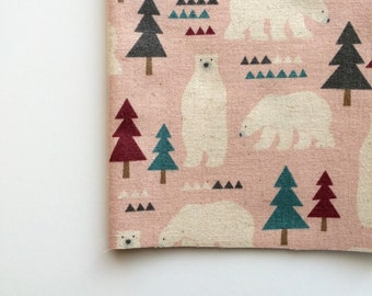 Nordic Bears in Pink by Kokka Fabrics, Trefle Nordic Bears
