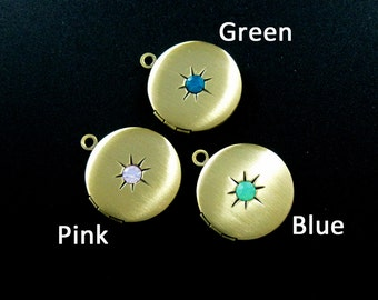 5pcs 21mm bronze vintage style antqiued round photo locket pink,green,blue artificial opal crystal star DIY pendant charm supplies 1111051