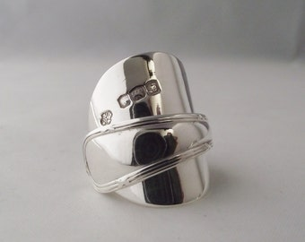 Beautifully Unusual Handmade Antique Ribbon and Bow Sterling Silver Spoon Ring dated 1923 Unique Gift