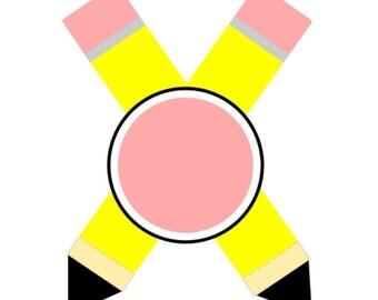SVG - Pencils Monogram - DXF - Back to School - Monogram - Pencils - School Tshirt - Pencil Tshirt design - School SVG - Teacher svg