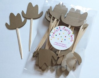 Cowboy Hat Cupcake Toppers | Food Picks | Set of 24