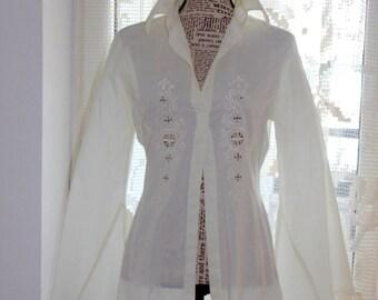 1965 White embroidery Vintage cotton shirt Woodstock white shirt Flower Power White cotton embroidery shirt