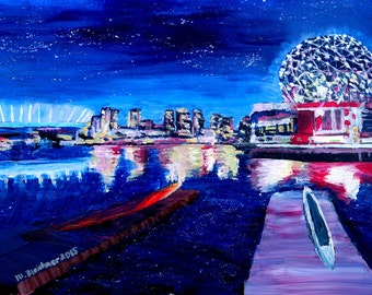 Vancouver Skyline At Starry Night - Limited Edition Fine Art Print/Original Canvas Painting