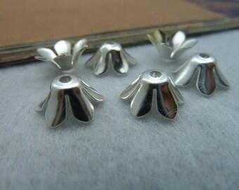 100pcs 5*12mm silver colour bead cap charms pendant C2221