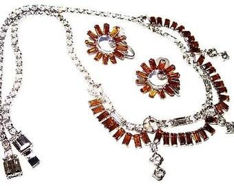 Art Deco Necklace Earring Set Signed PARCO Prov Citrine & Clear Baguette Rhinestones Silver Metal 1940s Vintage Rare