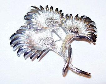 """Lisner Thistle Flower Brooch Signed Silver Plated Metal BIG Bold 2 3/4"""" Vintage 1950s"""